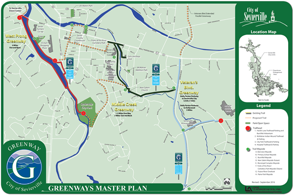 Greenway Color Coded with Signs and Mileage map